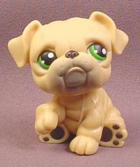 Littlest Pet Shop 107 Tan Or Cream Bulldog Puppy Dog With Green