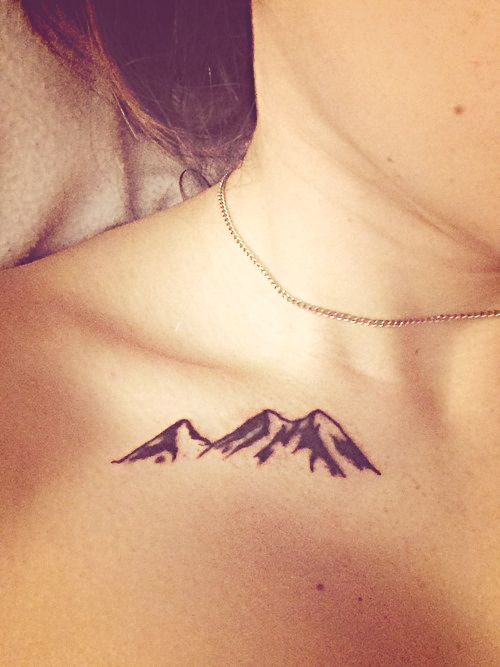 Mountains I Love The Saying The Mountains Are Calling Maybe I Should Just Get Some To Keep With Me Always Collar Bone Tattoo Bone Tattoos Tattoos