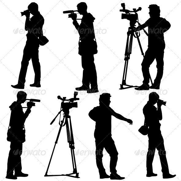 Cameramen Silhouettes With Video Camera Silhouette Video Camera Halloween Vector