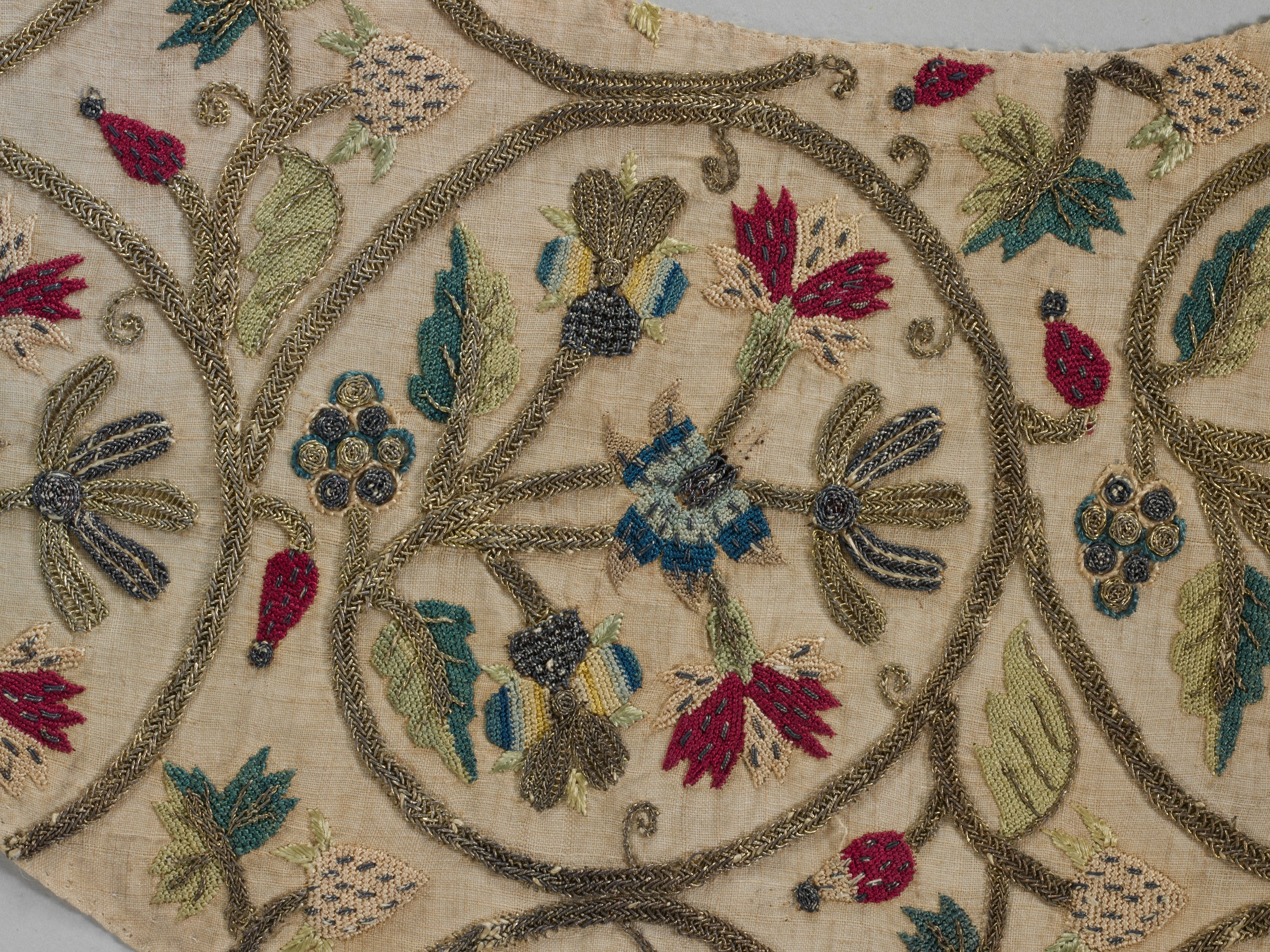 Embroidered sleeve pieces Date: late 16th or early 17th century Culture: British Medium: Silk and metal thread on linen
