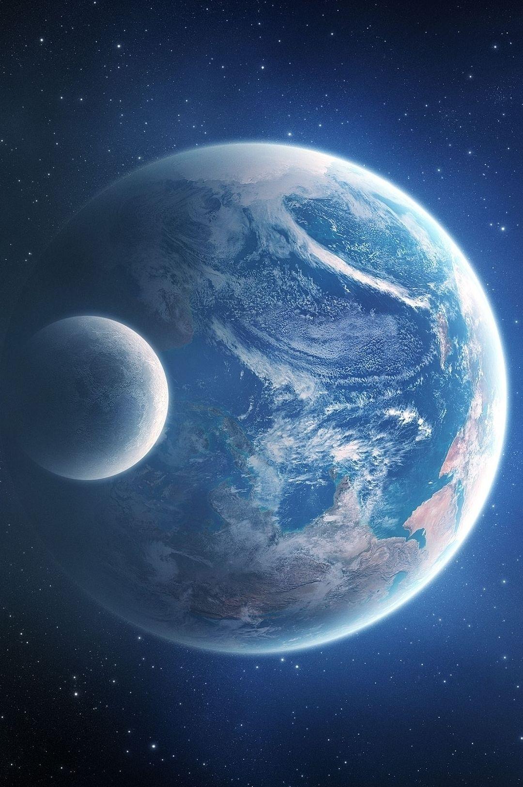 Notre Belle Planete Terre Et La Lune 3 3 3 Astronomie Planete Terre Nuit Etoilee