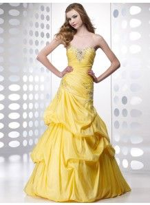 b2e8820aaf A-line Taffeta Sweetheart Strapless Lace-up Floor-length Prom Evening  Dresses With Cascading Ruffle Beading