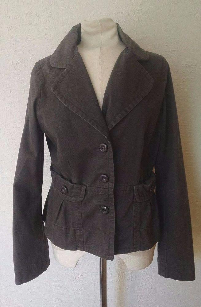Anthropologie Ett Twa Jacket 12 Gray Cotton Fitted Embroidered Bird #EttTwa #BasicJacket
