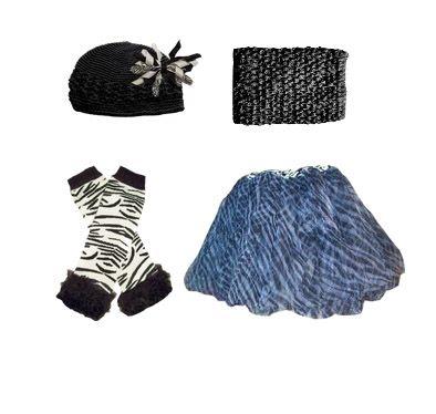 SO cute. Love t\he leg warmers.    Zebra-dorable! Zebra tutu, black tutu top, zebra legwarmers, Kufi hat and zebra korker bow tie hair bow make a stunning, trendy zebra-print outfit!