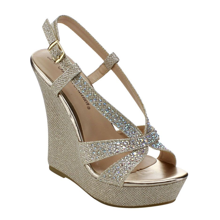 cddeb6ebbb These chic wedges feature round toe front, glitter-covered upper,  rhinestones, wrapped platform and heel, lightly padded footbed, and  adjustable sling back ...