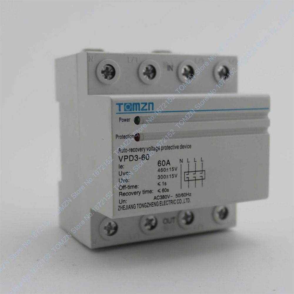 60a 380v Three Phase Four Wire Din Rail Automatic Recovery Reconnect Over Voltage And Under Voltage Protective Protection Relay Relay Protection Recovery