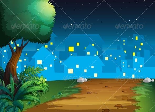 Town At Night City Cartoon City Condo Business Cartoons
