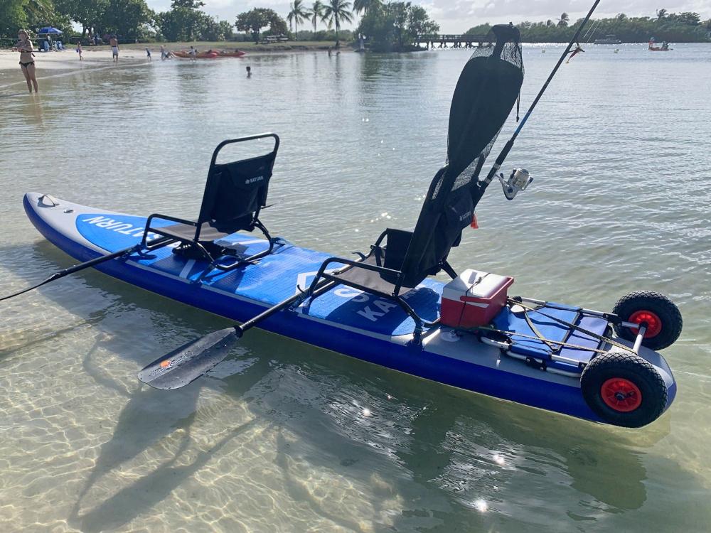 13 5 Inflatable Sup Paddle Board Sit On Top Tandem Inflatable Kayak In 2020 Inflatable Kayak Tandem Kayaking Kayak Cart