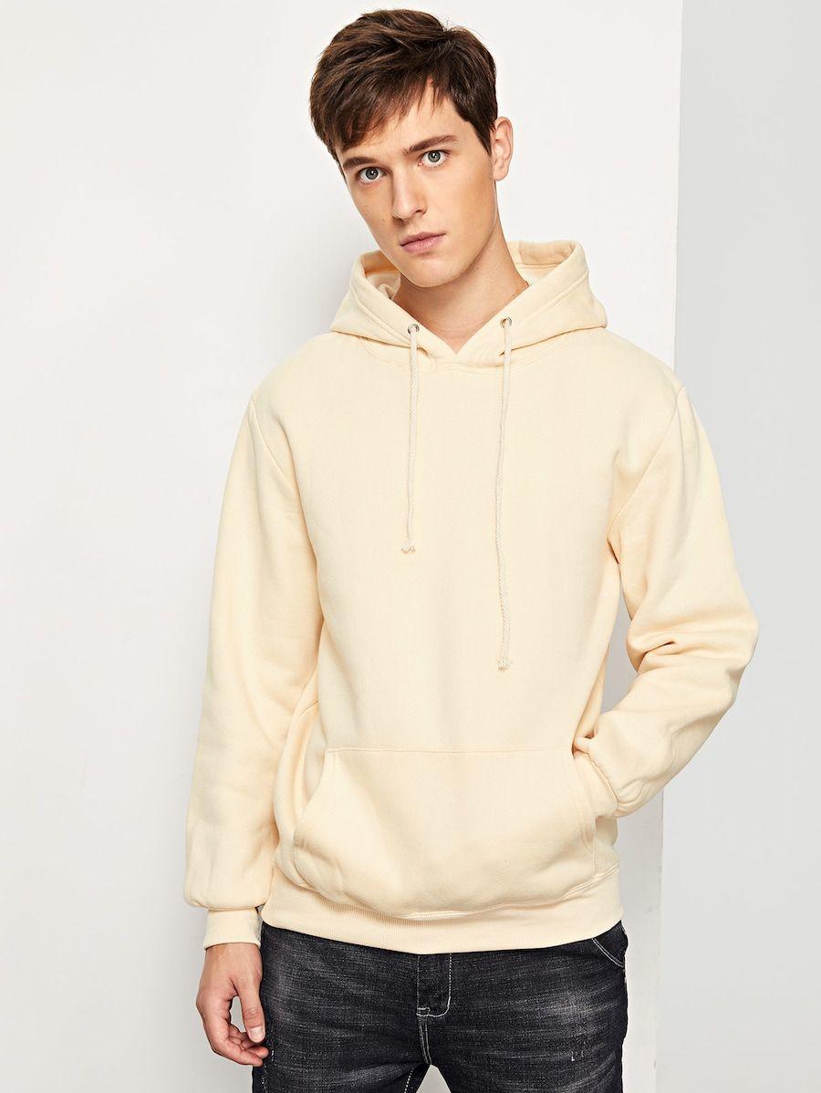 Men Solid Hooded Sweatshirt Shein Sheinside [ 1199 x 900 Pixel ]
