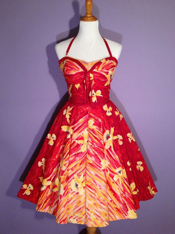 2525cebd0a3 Vintage 1950s Hawaiian Ombre  Dress - 50s Pinup Halter Dress with Petal  Bust - Kamehameha style - by HiFi Vintage