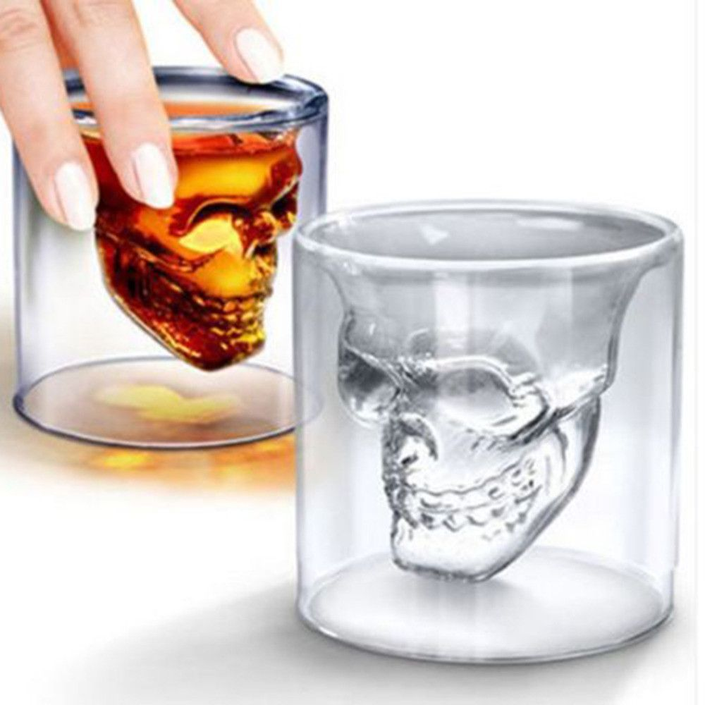 23f7a9a690 Skeleton Skull Punisher Greatful Dead Head Shot Glass See thru Party ...