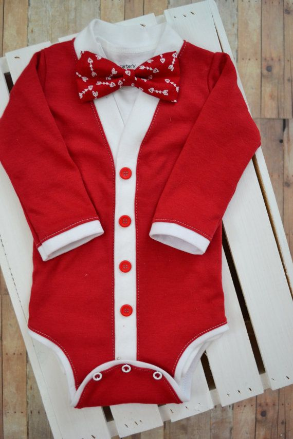 Ugly Christmas Sweater Tie With Suspenders Red Newborn Infant One Piece Onesie
