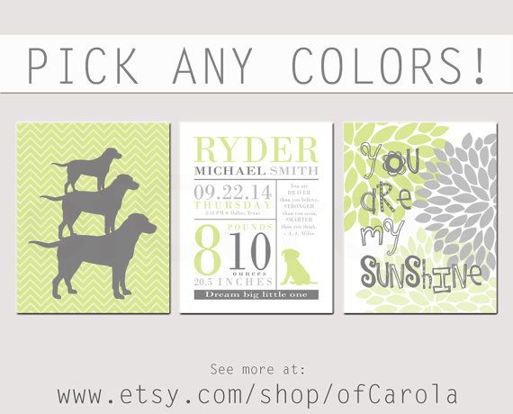 Baby Announcement Wall Art Print Set THREE by ofCarola on Etsy, $28.00