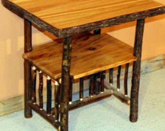 HICKORY LOG TABLE   Old Fashioned Hickory Side Table