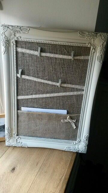 Country crafts burlap memo board with choice of colour pegs in polka dot