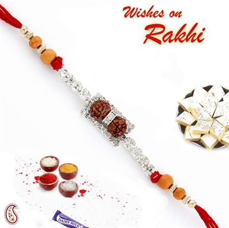 Double Rudraksh American Diamond Rakhi Orwrd14180 Rakhi Rudraksh American Diamond