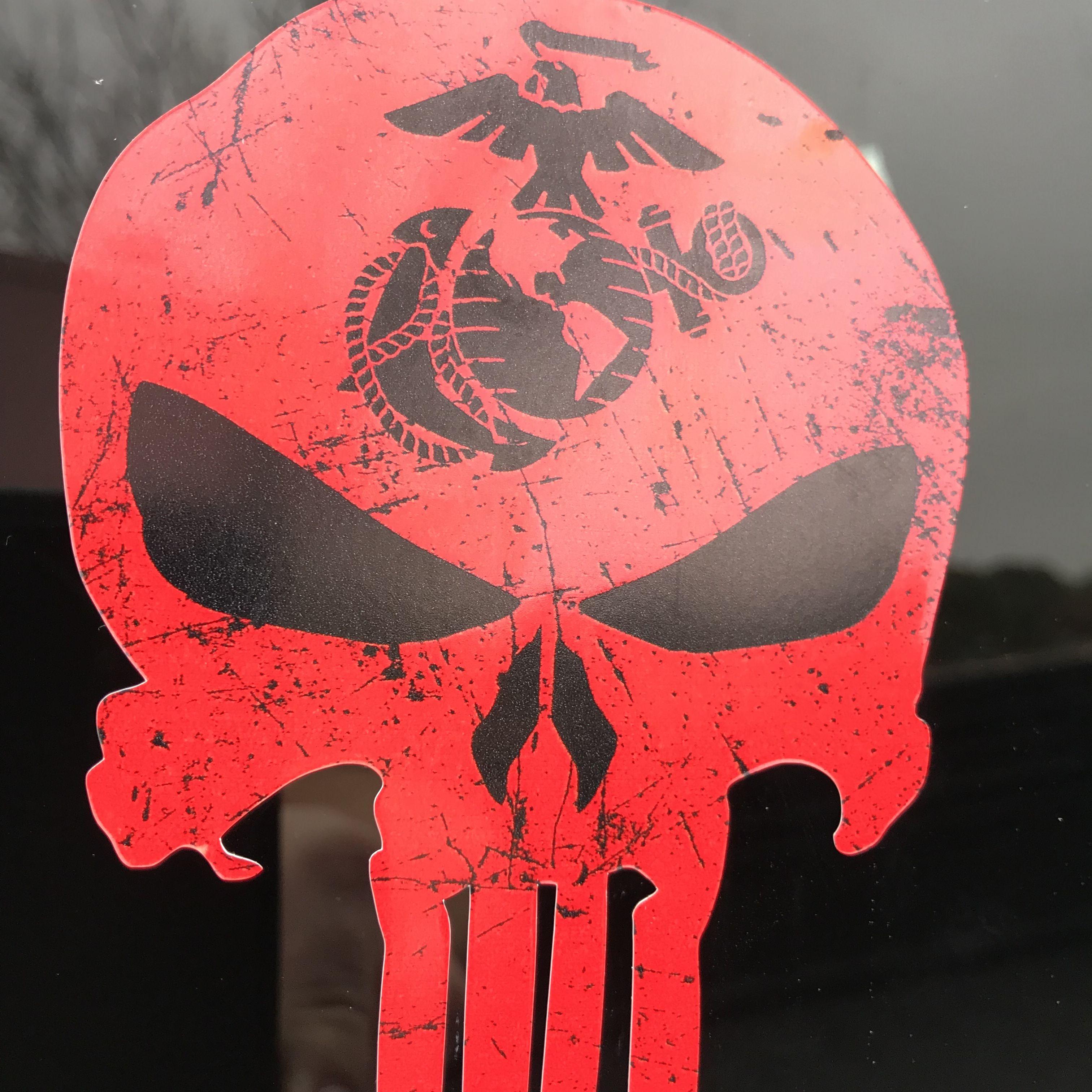 Window Decal Marine Corps EGA Punisher skull Various sizes Free Ship