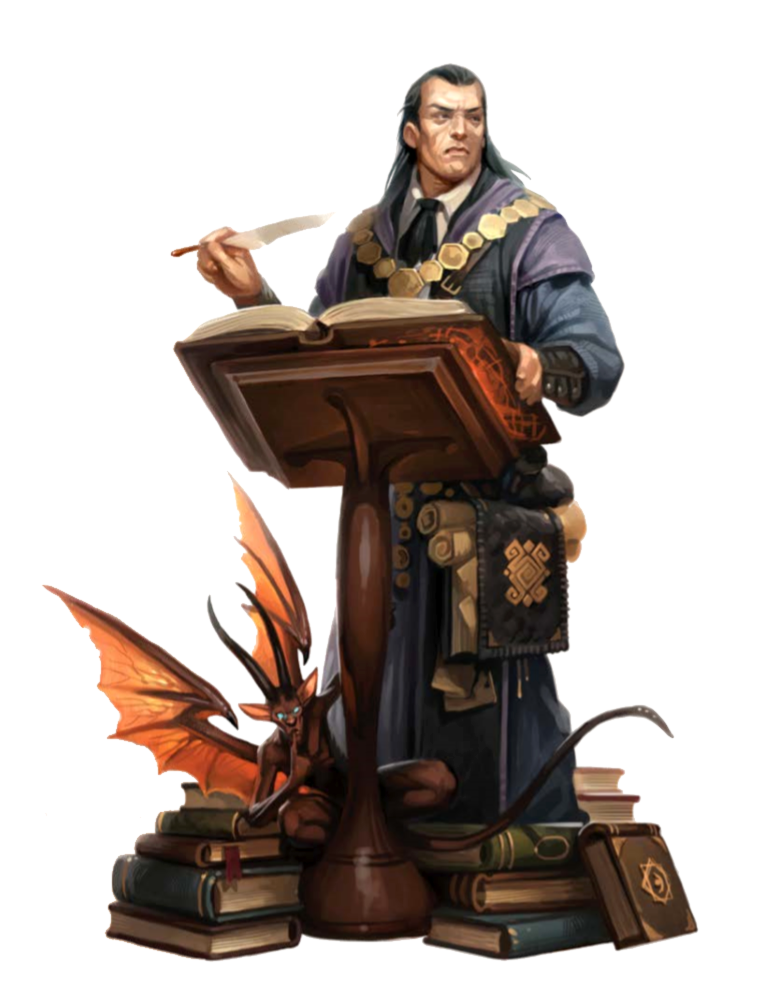 Male Human Wizard Librarian with Imp Familiar Pathfinder