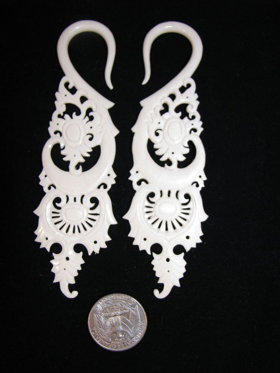 Jaded Detailed Carved Organic Bone Ear Gauges Limited 4g Or 5mm Hanging Plugs Or Spacers Ear Gauges Ear Carving