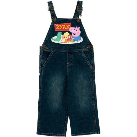 Personalized Peppa Pig Playful George Toddler Denim (Blue) Overalls, Toddler Girl's