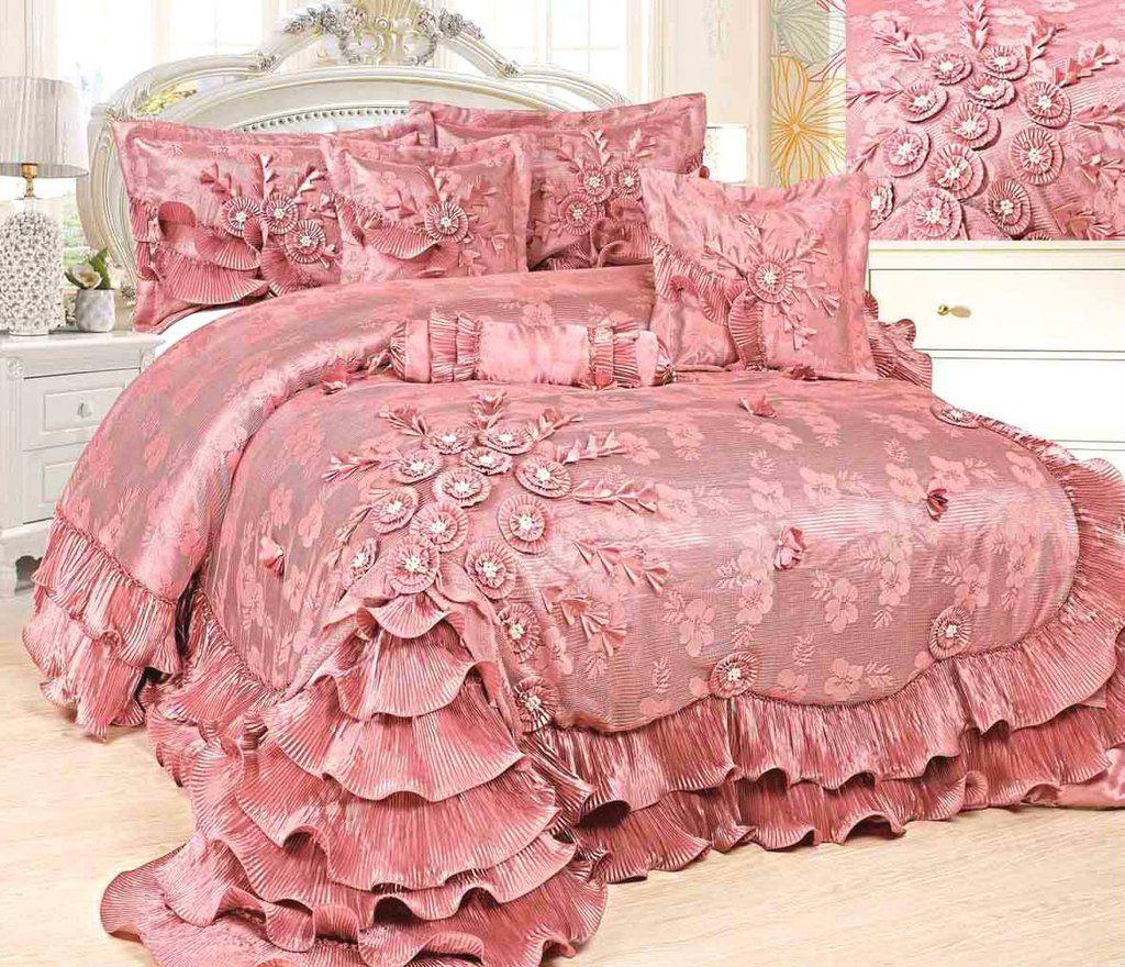 Tache Satin Ruffle Floral Lace Pink Royal Princess Dream Comforter