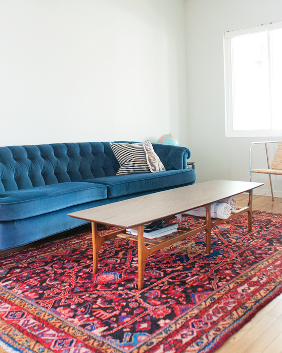 Yellow Brick Home's Persian Rug Blue Couches, Blue Velvet Couch, Red Sofa, Living
