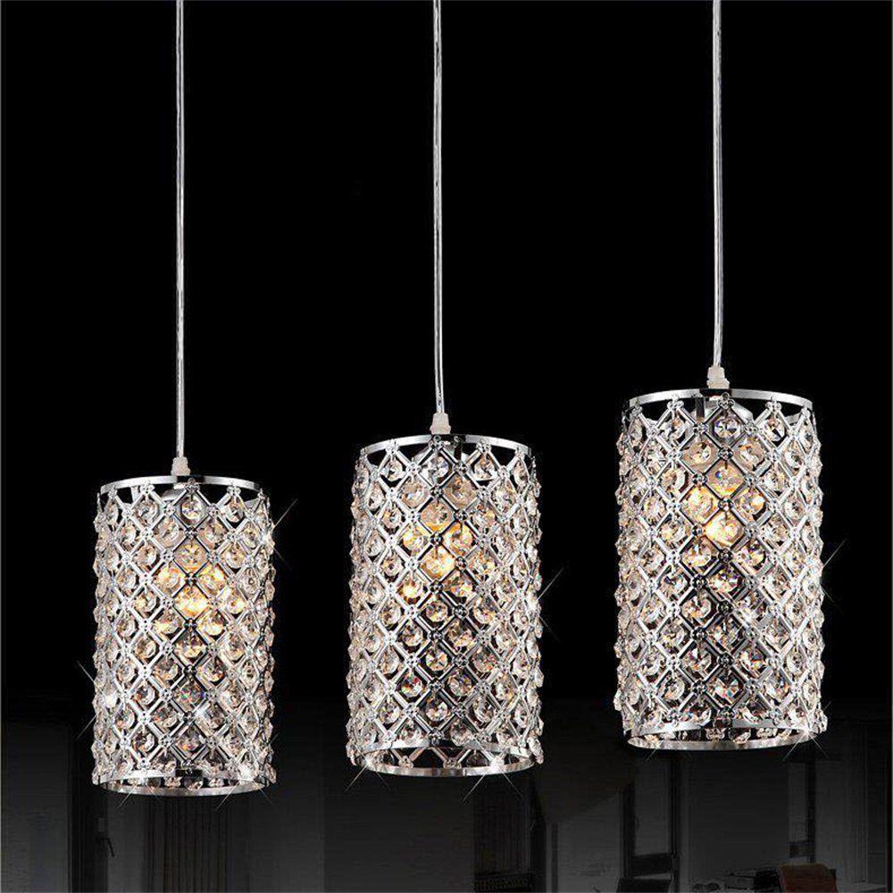Dinggua Chrome Finish 3 Lights Modern Crystal Cylinder Pendant Light Fixture Flush Mou Crystal Chandelier Lighting Pendant Ceiling Lamp Cylinder Pendant Light