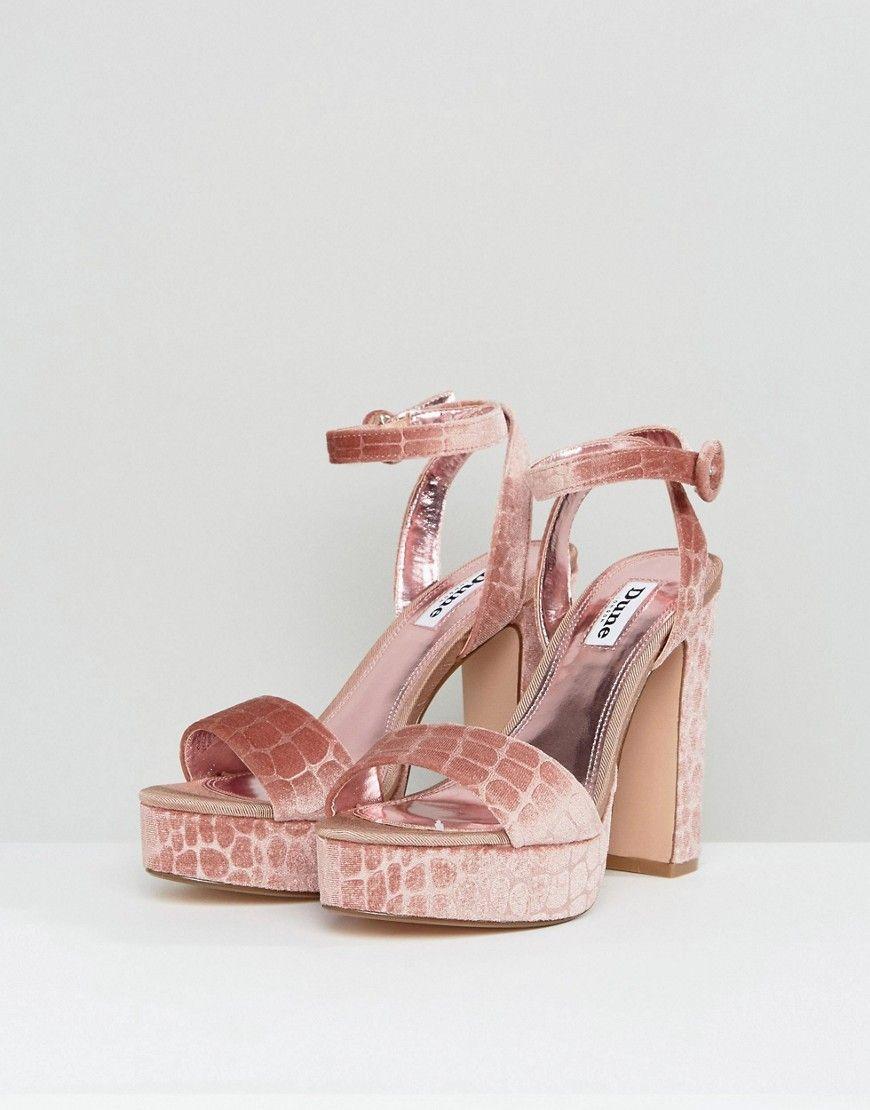ed62c086384 Dune London Morisey Velvet Platform Heeled Sandals - Pink