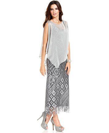 SL Fashions Sleeveless Metallic Crochet Gown and Capelet | macys.com ...