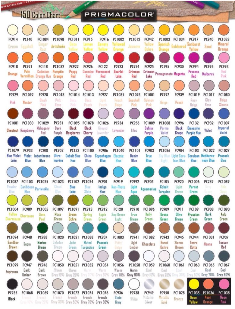 Prismacolor premier colored pencil color chart coloring for prismacolor colored pencils set of 150 color chart with numbers and names filled in with color nvjuhfo Choice Image