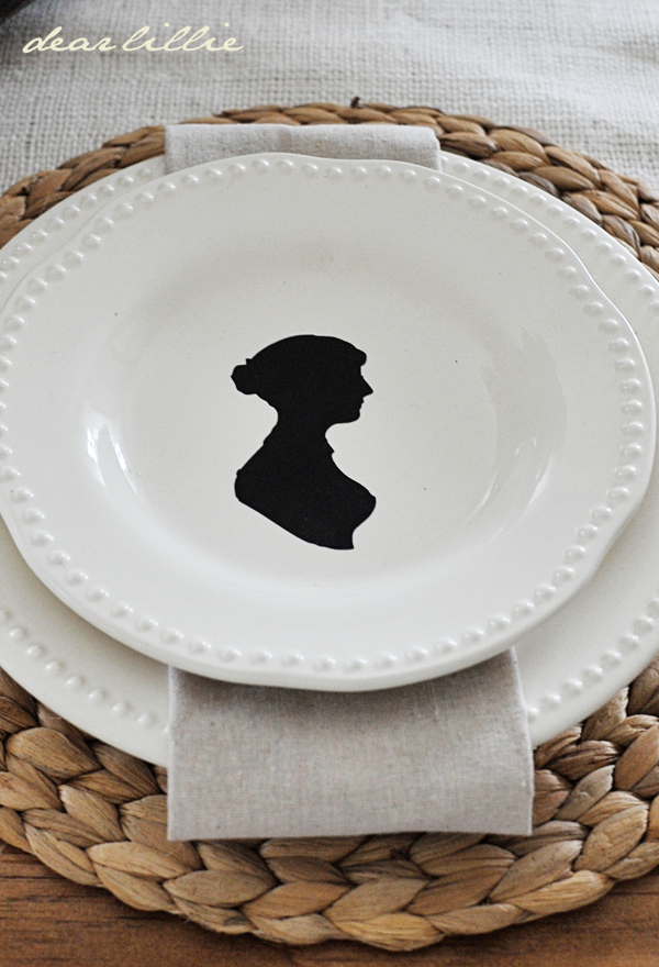 Image of Jane Austen Vinyl Silhouette Set - would love to have to put on a tea pot