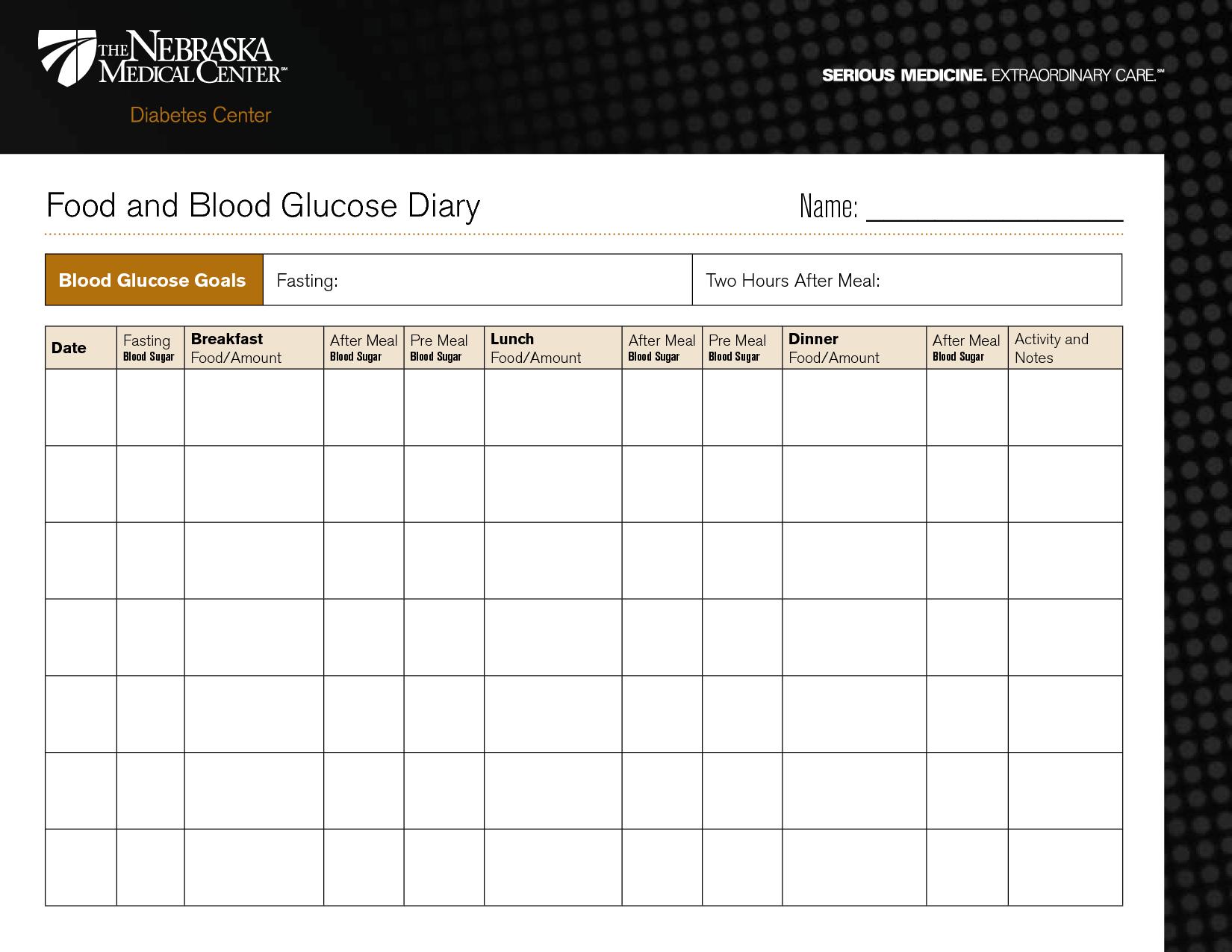 Diabetic Food Diary Template Printable
