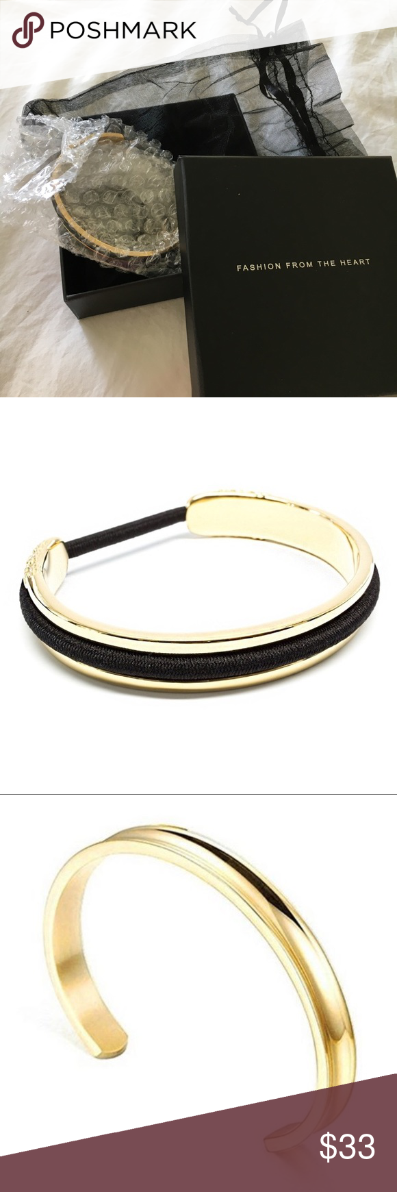 Ashley Bridget • Skinny Elastic Holder Bangle Dress up that grungy hair tie  around your wrist de143b94d9c