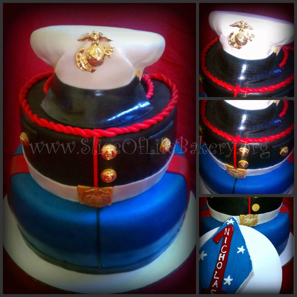 Marine Corps Dress Blues Birthday Cake!!! military usmc