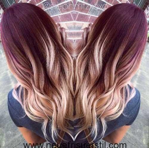 rot bis blond ombre lange haare mit balayage vlasy pinterest ombr haare haarfarbe ideen. Black Bedroom Furniture Sets. Home Design Ideas