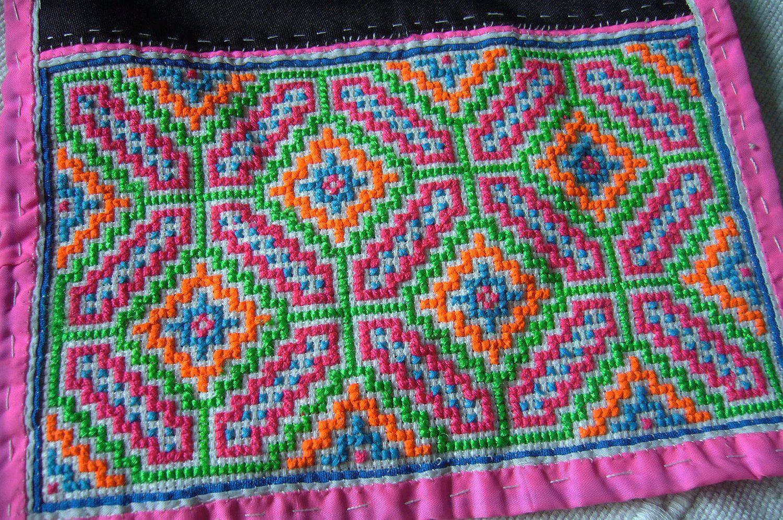 Thai hmong vintage textiles similar pair cross stitch