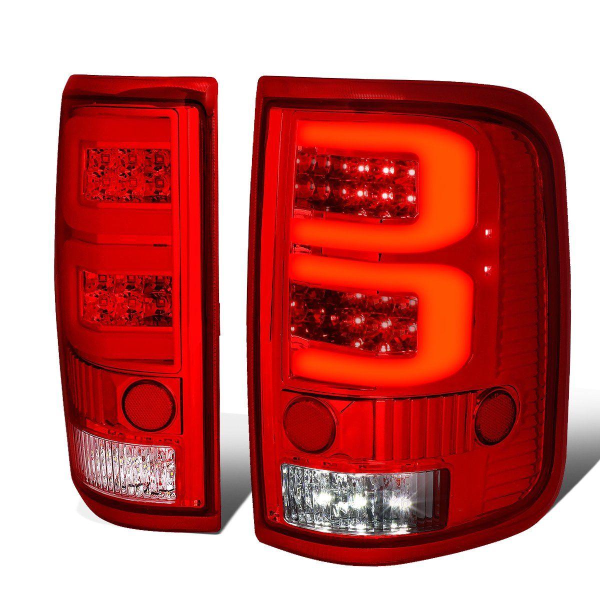 04 08 Ford F150 Lobo Dual Led C Bar Rear Brake Tail Lights Red Housing Tail Light Ford F150 Led