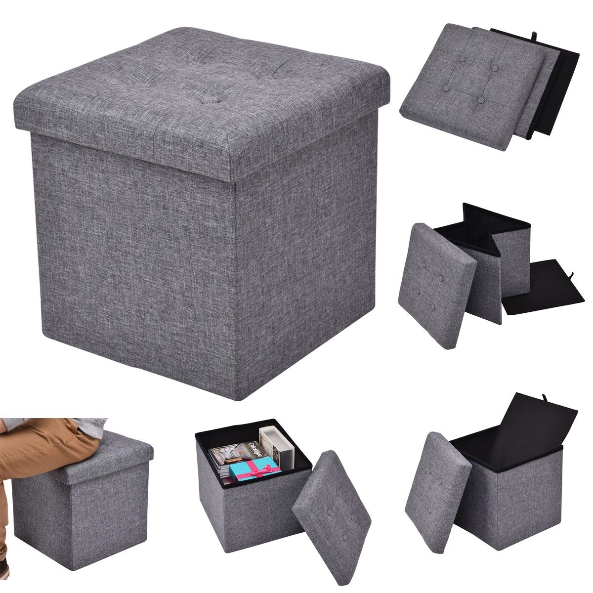 Square Collapsible Canvas Storage Box Foldable Kids Toys: Costway Folding Cube Storage Ottoman Seat The Square