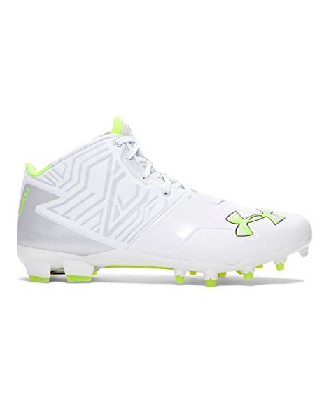 737acff848dc Men's Under Armour Banshee Mid MC Lacrosse Cleat White/Metallic Silver Size  12 M US