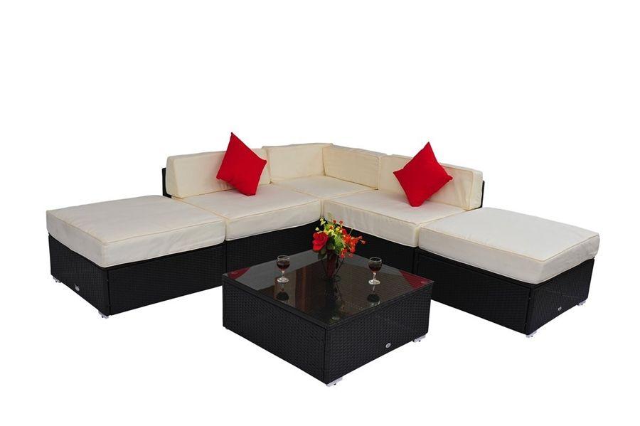 6 Piece Outdoor Rattan Sofa Wicker Set