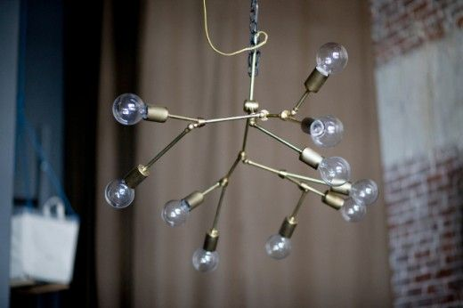 DIY brass chandelier, via Lindsey Adelman