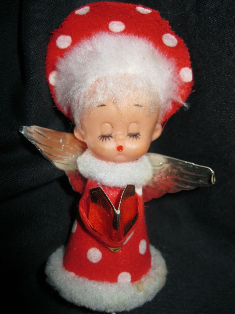 Christmas Rubber Face Angel Ornament Noel Red Polka Dot Faux Fur