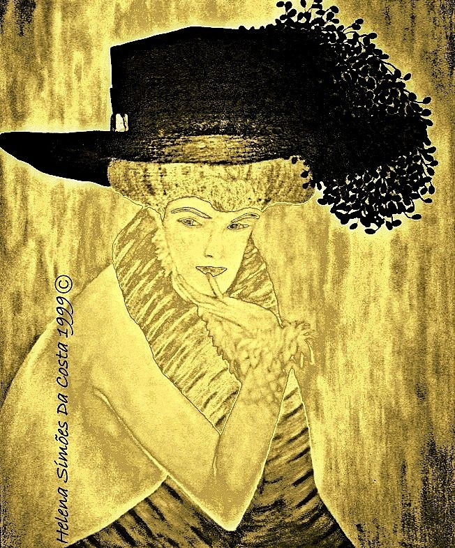 Acrylic on canvas by Helena S. Costa ©. ---- (Painting edited with two color effects: black and yellow-gold) ------------------ [this work was inspired by a painting of Gustav Klimt].