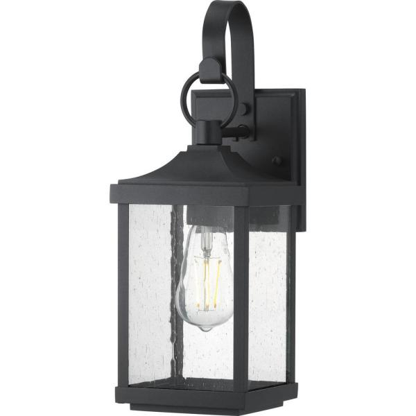 Progress Lighting Park Court 1 Light 15 In Textured Black Outdoor Wall Lantern With Clear Seeded Glas In 2020 Outdoor Wall Lantern Wall Lantern Outdoor Light Fixtures