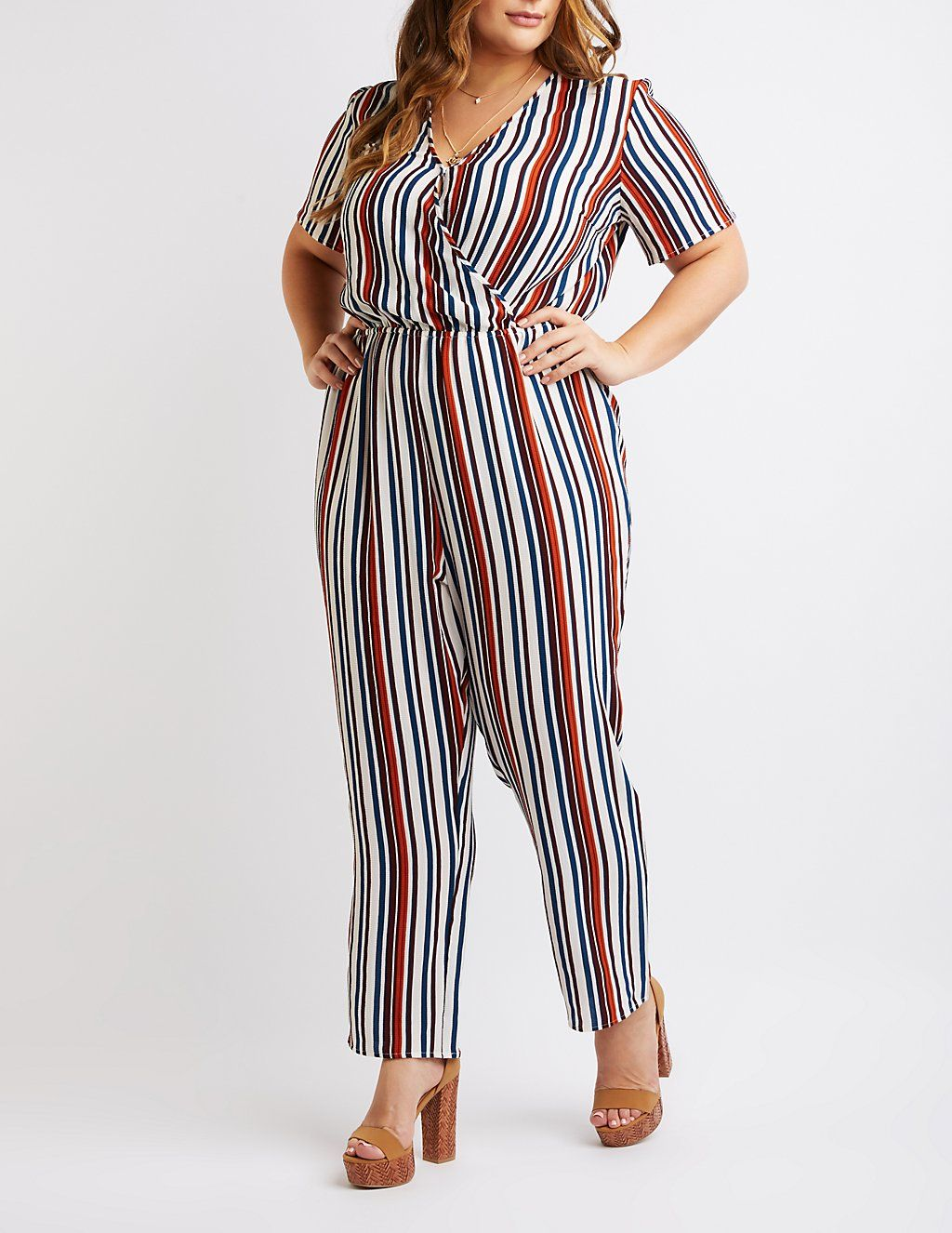 a01a2f83d19 Plus Size Striped Wide Leg Jumpsuit from Charlotte Russe