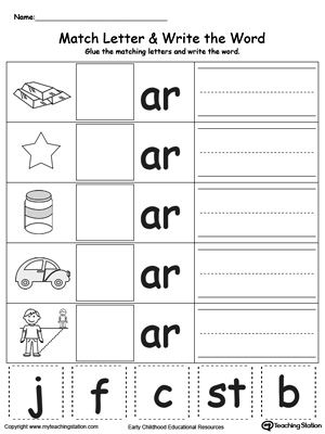 Ar Word Family Match Letter And Write The Word  Phonics Worksheets