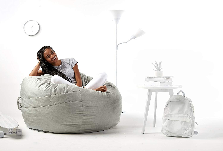 Amazon Com Big Joe 0010658 Foam Filled Bean Bag Chair Large Fog Lenox Kitchen Dining Bean Bag Chair Chair Bean Bag