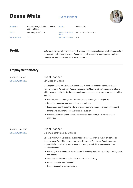 Guide event planner resume 12 samples pdf word