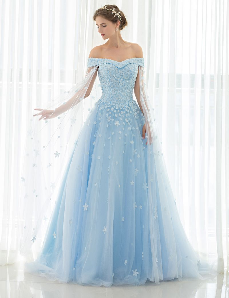 2017 Custom Made Empire Wedding Dresses Light Blue Tulle with Lace Applique  and Beads Long Bridal Gowns Cathedral Train 50525 939954a11904