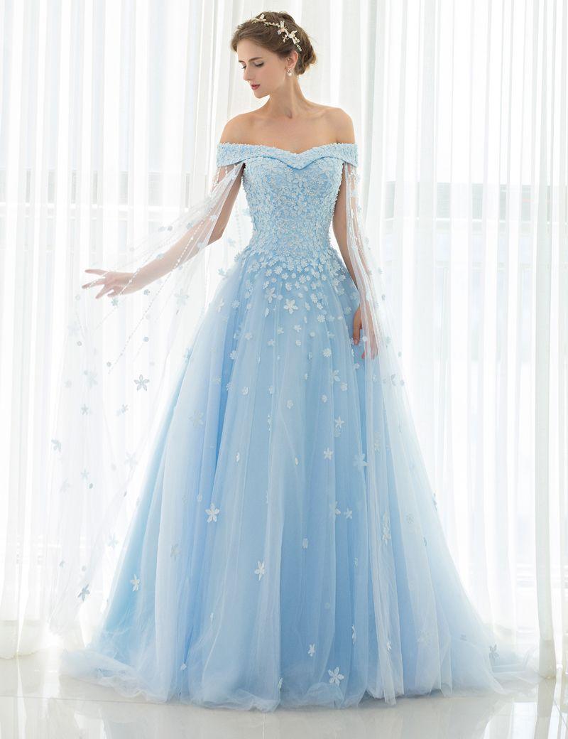 Robe longue bleu clair mariage